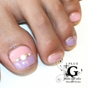 Just a touch of bling on your pink and purple pedi  with gold glitter and jewels