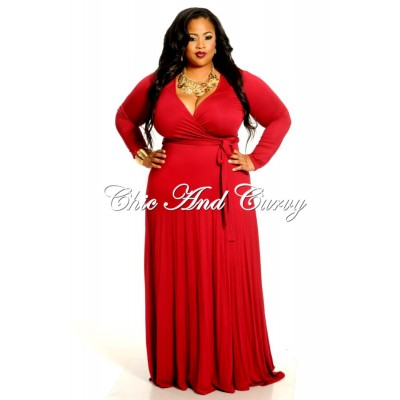 New Plus Size Long Wrap Dress With Tie (1X-3X)