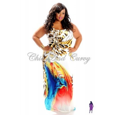 Multi-Colored White Animal Print Maxi (1X-3X)