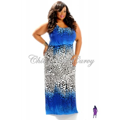Multi-Colored Maxi Dress in Blue, Black, White (1X-3X)